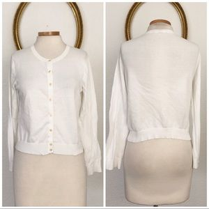 Gap White Cotton Button Down Long Sleeve Cardigan
